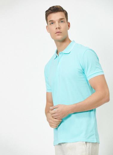 Koton Polo Yaka Kol ve Yaka Ucu Çizgili Slim Fit T-Shirt Mavi